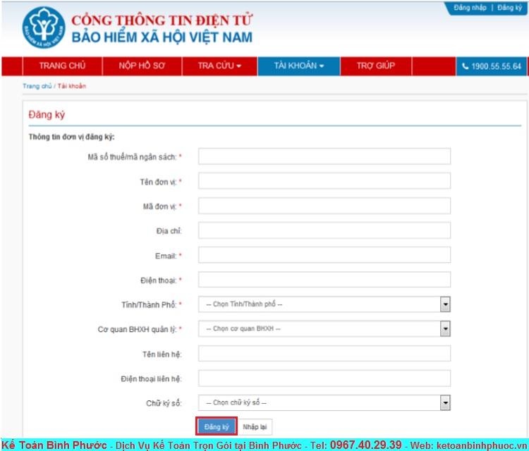 Hướng dẫn đăng ký tài khoản giao dịch Bảo Hiểm Xã Hội Điện Tử 3 - Kế Toán Bình Phước